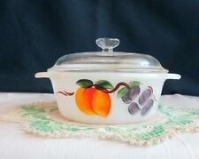 FIRE KING GAY FAD FRUITS 1 PT. CASSEROLE/BAKER-W/LID-HANDPAINTED PEACHES-GRAPES