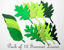 12 x Summer Felt  Die Cut Leaves Trimmings Appliques Sizzix Green Scrapbooking