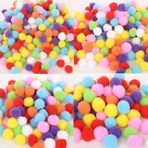 "Pack of 200 Fuzzy Plush POM POMS 10mm (about 3/8"") Round Choice of Color"