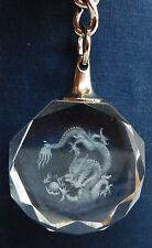 Laser Etched Crystal Dragon- Year of the Dragon Keyring / Key Ring - BNIB