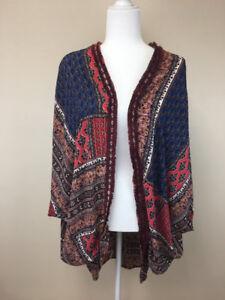 Umgee S M Boho Babe Kimono Navy Tan Burgundy Floral Patchwork Dolman Sleeve