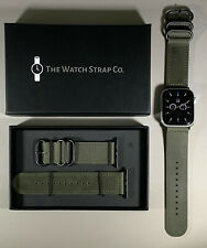 Military Green Genuine Leather Strap For Apple Watch 42/44 Series 1,2,3,4,5,6,SE