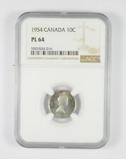 PL64 1954 Canada 10 Cents - Graded NGC *078