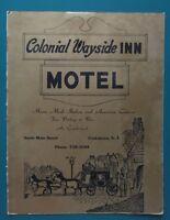 1950s Colonial Wayside INN MOTEL Menu, Cookstown N.J