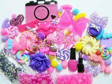 50 PC Hot Pink Glitter Bow Flatback Resins Kawaii Cabochons DIY Deco Bling KIT