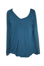 Studio M New Teal 3/4-Sleeve Gathered Neck Blouson Top M $88