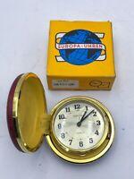 VINTAGE EUROPA 2 JEWEL TRAVEL FLIP CASE ALARM CLOCK WITH ORIGINAL BOX
