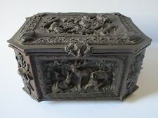 RARE ORNATE HUNTING BOX SCULPTURE BRONZE METAL AFTER AUGUSTE MOREAU ANIMAL CHEST