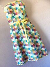 COREY LYNN CALTER STRAPLESS DRESS 2 XS Yellow PATCHWORK Preppy ANTHROPOLOGIE CLC
