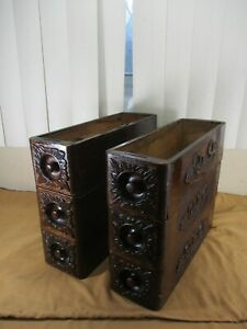 STRONG Antique Ornate Wood Treadle Sewing Machine Drawers Set of Six (6)