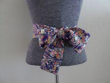 """Japanese Vintage Silk Kimono Obi Sash Belt Floral Print/ 63""""L x 3.25""""W"""