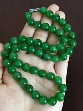 Certified Natural Jade Russian Crystal Round Beads Necklace 9mm AAAAA