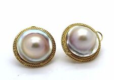 Solid 14K Yellow Gold Earrings Mabe Pearl EA Gorgeous Omega Back
