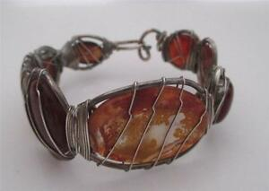 Julie Fenton Young Sterling Wire Wrapped Handmade Carnelian Agate Bracelet