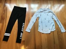 Nwt Justice Outfit/Set Long Sleeve Gray Koala Shirt & Black Leggings Size 8