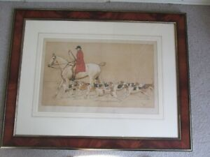 Very Large Framed Cecil Aldin Print of The Hunt Horse Dogs and Rider with Whip