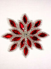 XR32  Red / Silver Snowflake Jewel Beaded Applique 3""