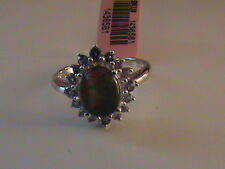 Opal & Tanzanite Ring Size 7.5 in Sterling Silver