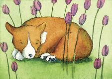 ACEO PRINT - Springtime Nap - Corgi dog garden tulips