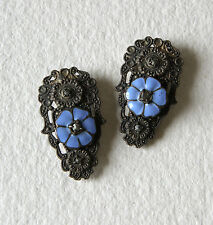 Antique Vintage 2 Dress Clips Pair Blue Enamel Flower Marcasite