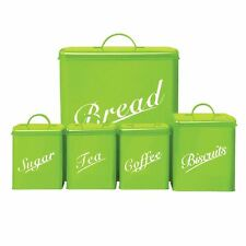 CANISTER SET 5 Piece Lime Sugar Tea Coffee Biscuits Bread Kitchen Storage Set