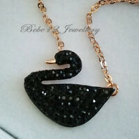 Simulated Black Diamond/Black Swan Pendant Necklace/Rose gold/RGN532/536