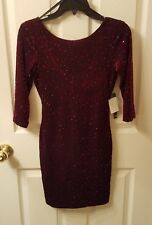 As You Wish Open-Back Burgney Glitter Bodycon Dress - Size S (Juniors) - NWT