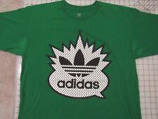 Used/Worn ADIDAS Yo MTV Raps Parody T-SHIRT Mens L Green Raised Textured Print