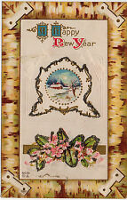 A HAPPY NEW YEAR Embossed/ Glitter Penny Postcard 1914 Message/ Unposted