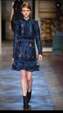 ERDEM blue silk ruffled dress. size 8. catwalk piece BNWT