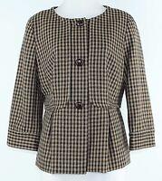 Talbots Sz 10 Olive Brown Multi Plaid Wool Polyester Lining Jacket G065
