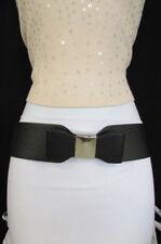 Women Fabric Belt Fashion Hip Waist Elastic Black Wide Bow Tie Silver Buckle S M