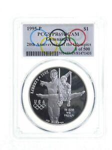 1995 Gymnastics Olympic $1 Silver Commemorative PR69 Spl Lbl 1 of 500 PCGS