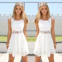 Womens Ladies Sleeveless Lace Flared Skater Mini Dress Evening Party Dresses CH8