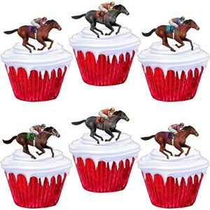 Horse Racing Stand Up Cup Cake Toppers Edible Birthday Party Decorations