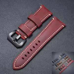 Watch Bands Cowhide Genuine Leather Wristwatch Straps Watch Parts 24mm Red