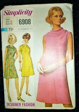 "UNCUT VINTAGE 1960's SIMPLICITY SEWING PATTERN COWL NECK SHIFT DRESS BUST 36"""