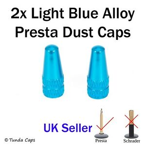 2x Light Blue Presta Alloy Valve Stem Dust Caps Racing Bicycle cycle Cover Bike