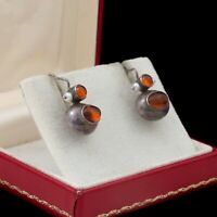 Antique Vintage Deco 925 Retro Sterling Silver Baltic Amber Pearl Drop Earrings