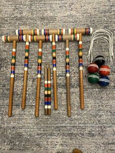 Vintage Forster Croquet Player Park Set 6 Mallets 5 Balls Pre Owned With Wickets