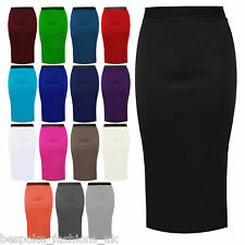 New Womens Ladies Jersey Elasticated Pull Up Pencil Bodycon Office Skirt 8-20