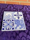 LOVELY STYLISH ANTIQUE QUARTERED ARTS   CRAFTS TILE FEATURING SEAHORSE  LION  3