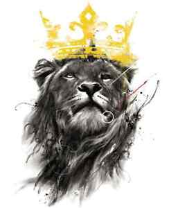 KING LION CROWN iron on t shirt transfer A5