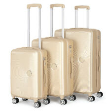 3Set ABS Luggage Hardside Spinner Lightweight Durable Spinner Suitcase champagne