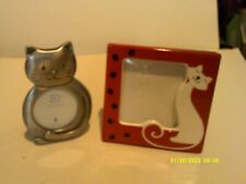 2 Really Cute Small Cat Pictures Frames - 1 Pewter, 1 Ceramic - Easel Style