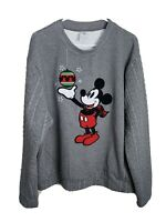 Disney Store Crewneck Knit Sweater, Embroidered Mickey Mouse, Mens Size XL, Gray