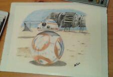 Original 11x14 Star Wars/BB8 drawing done by Instagram artist ARTuro