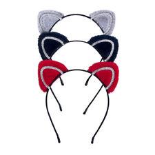 Ladies Rhinestone Cat Ear Hairband Hair Band Headwear Girls Cat Ear Headband