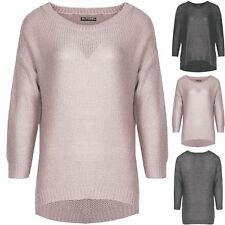 Womens Baggy Ladies Chunky Knit Lagenlook Side Cut Hi Lo Shiny Jumper Sweater