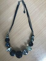 NECKLACE BY ACCESSORIZE CHUNKY BLACK BEAD ?? J1194 *
